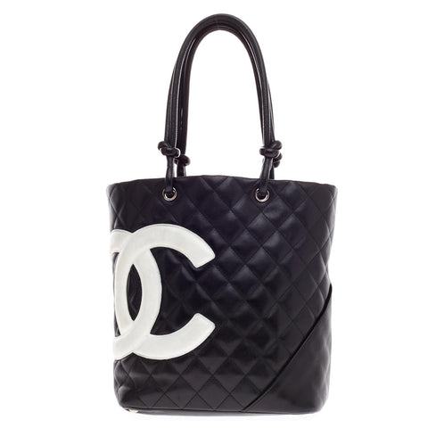 76783aa3ae1b10 Buy Chanel Cambon Tote Quilted Leather Small Black 64514 – Rebag
