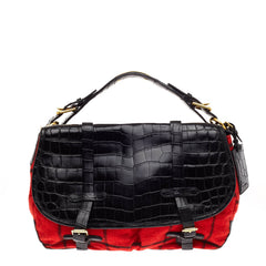 Ralph Lauren Saranac Messenger Crocodile and Tartan
