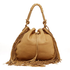 Ralph Lauren Multi Fringe Grained Leather Hobo