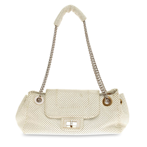 f5926217feb1 Buy Chanel Accordion Flap Bag Perforated Leather Classic White 69701 – Rebag