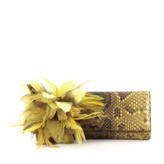 Gucci Angelica Clutch Python with Feathers Long