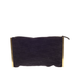 Lanvin Private Quilted Suede Framed Clutch