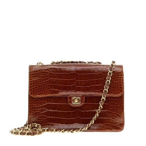 c371b18d881d Buy Chanel Classic Flap Bag Crocodile Jumbo Brown 75602 – Rebag
