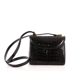 Judith Leiber Convertible Top Handle Flap Bag Alligator Small
