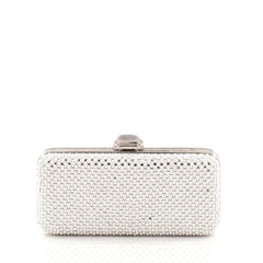 Judith Leiber Chain Minaudiere Box Clutch Crystal and Pearl Long