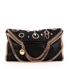 Stella McCartney Falabella Fold Over Embellished Shaggy Deer