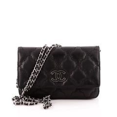 Chanel Double Stitch Hampton Wallet On Chain Quilted Leather