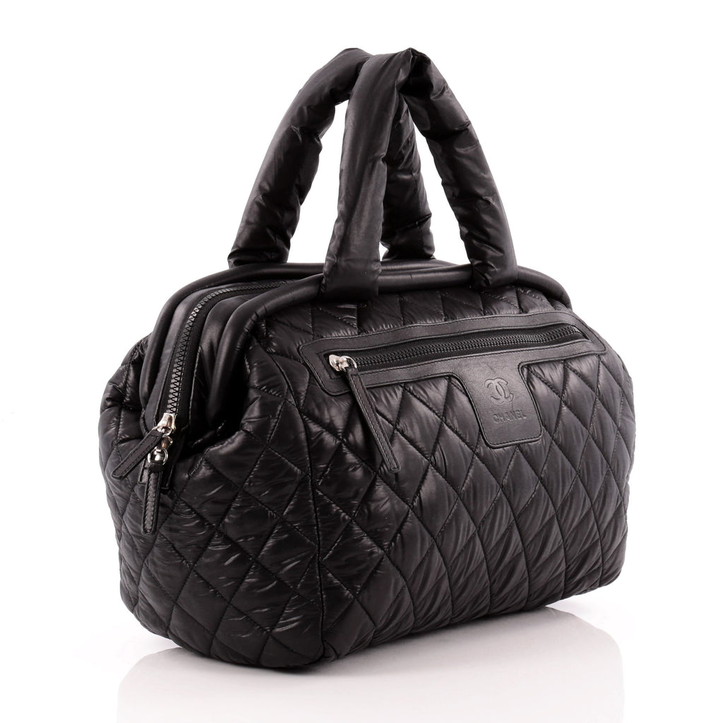 abdc99850df5 Buy Chanel Coco Cocoon Bowling Bag Quilted Nylon Black 922501 – Rebag