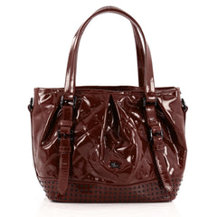 Burberry Lowry Convertible Tote Studded Quilted Patent Medium