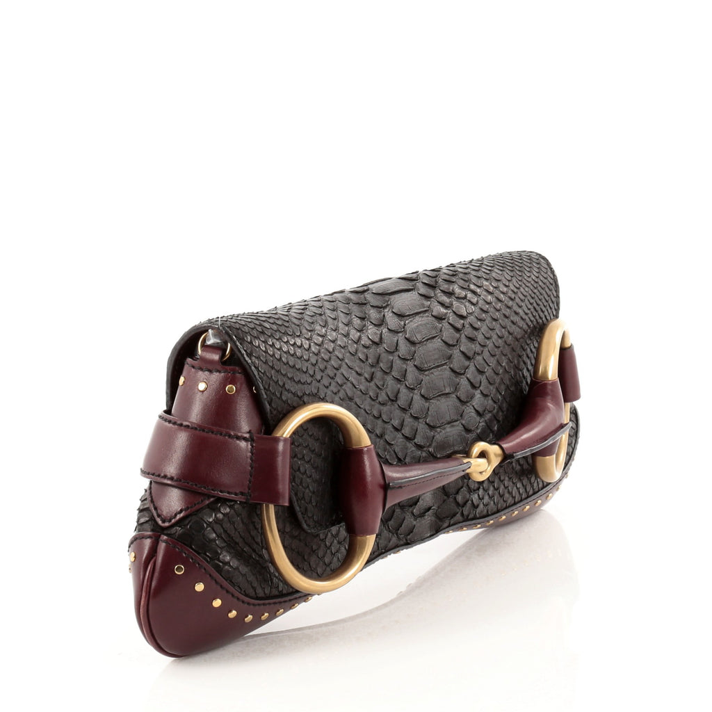 e5dfc6e754f014 Buy Gucci Horsebit Chain Strap Clutch Python Large Black 954902 – Rebag