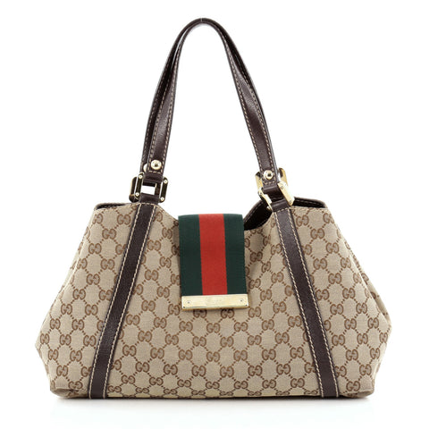 cce102f8d10 Buy Gucci New Ladies Web Tote GG Canvas Small Brown 956201 – Rebag