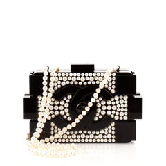 Chanel Lego Clutch Pearl Embellished Plexiglass