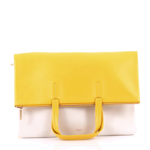 698822b1a3 Buy Celine Folded Cabas Convertible Bag Leather Yellow 958801 – Rebag