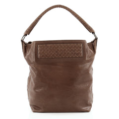 Bottega Veneta Bucket Hobo Leather with Intrecciato Detail Large