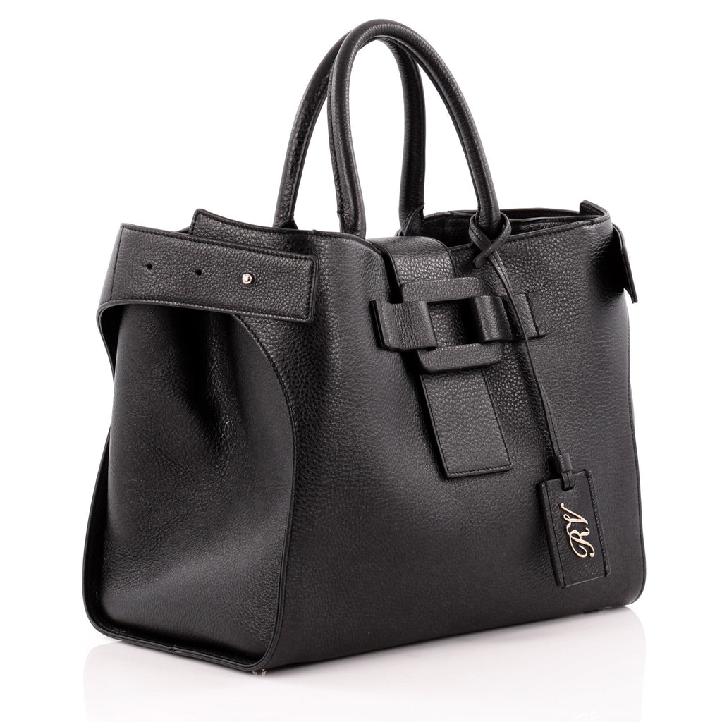5df90393cf4b Buy Roger Vivier Pilgrim De Jour Tote Leather Medium Black 962301 ...