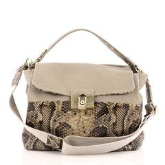 Lanvin For Me Double Carry Python Embossed Leather Medium