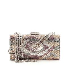 Judith Leiber Chain Minaudiere Box Clutch Crystal Long
