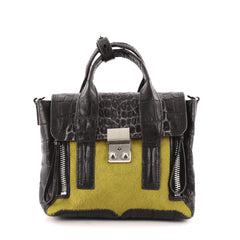 3.1 Phillip Lim Pashli Satchel Crocodile Embossed Leather and Calf Hair Mini