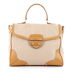 Prada Convertible Lock Flap Satchel Canvas with Leather Large