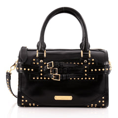 Burberry Bridle Bowling Bag Studded Leather Medium