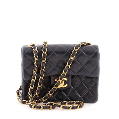 Chanel Vintage Square Classic Single Flap Quilted Leather Mini