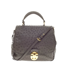Miu Miu Flap Top Handle Bag Ostrich Large