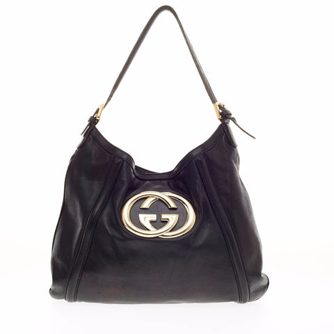 22dc1882a33c Buy Gucci New Britt Hobo Leather Medium Black 115501 – Rebag