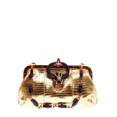 Gucci Bamboo Jeweled Frame Clutch Lizard with Snake Head Closure Small
