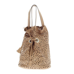 Marni Drawstring Tote Laser Cut Leather