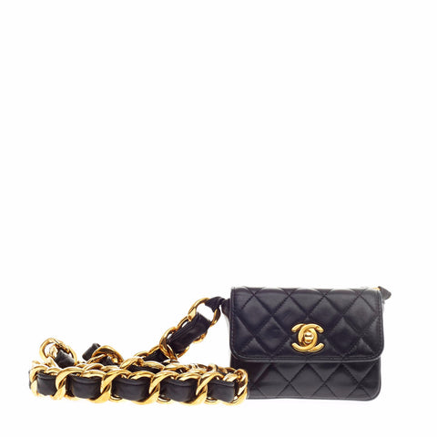 f584bc21fa46 Buy Chanel Jumbo Chain Flap Bag Quilted Lambskin Micro Black 126206 – Rebag