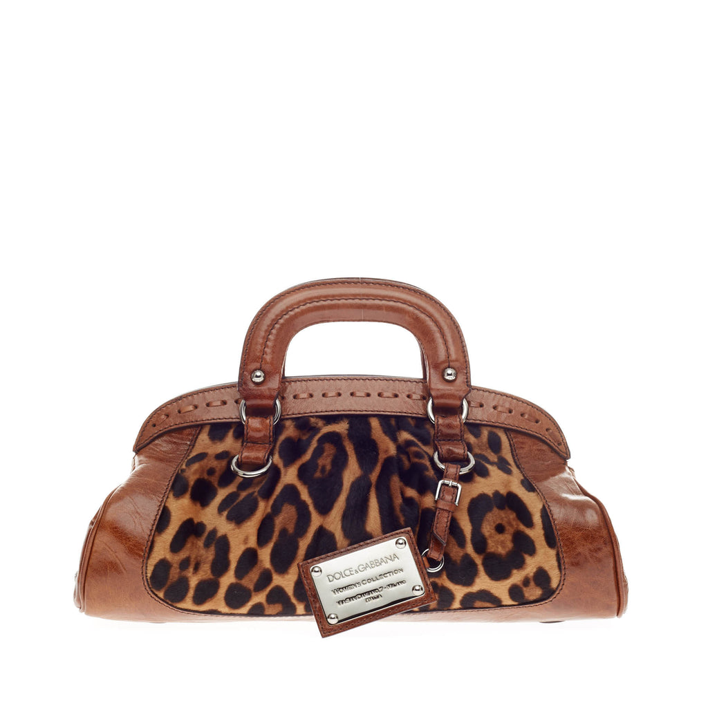 111a3759f9f6 Buy Dolce   Gabbana Miss Romantique Handle Bag Ponyhair Brown 128701 – Rebag