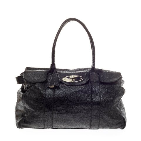c3ed0412515b ... italy buy mulberry bayswater tote shimmery textured leather black  129005 rebag 3fe8d 4582e