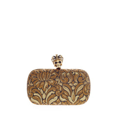 Alexander McQueen Crowned Skull Box Clutch Jacquard