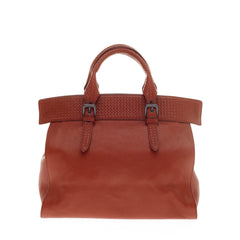 Bottega Veneta Top Handle Tote Madras Heritage Leather with Intecciato Detail
