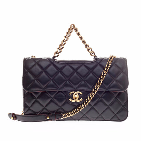 7a86d080c80c Buy Chanel Perfect Edge Flap Bag Quilted Leather Medium Black 144401 – Rebag