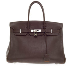 Hermes Birkin Chocolate and Rose Shocking with Palladium Hardwar 35
