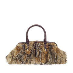 Gucci Bamboo Frame Satchel Fur