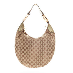 Gucci Bamboo Ring Half Moon Hobo GG Canvas Large