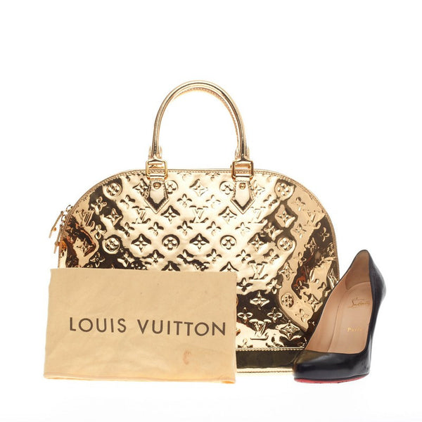 Buy louis vuitton alma handbag miroir pvc mm gold 168107 for Louis vuitton miroir alma