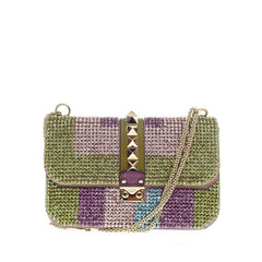 Valentino  Glam Lock Shoulder Bag Rhinestones Small