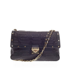 Versace Couture Flap Bag Studded Matelasse Leather Large