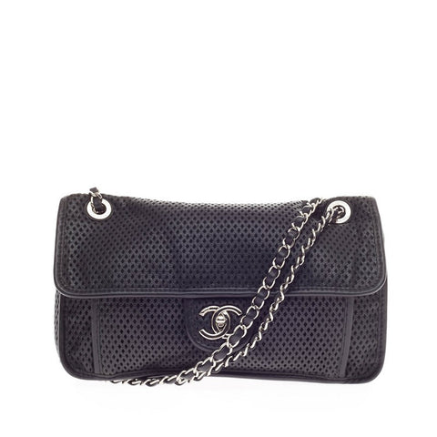 8306829611db Buy Chanel Up In The Air Flap Bag Perforated Leather Black 170601 – Rebag