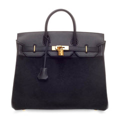 Hermes Birkin HAC Black Pony Hair and Leather with Gold Hardware 32