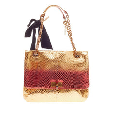 Lanvin Happy Shoulder Bag Metallic Python