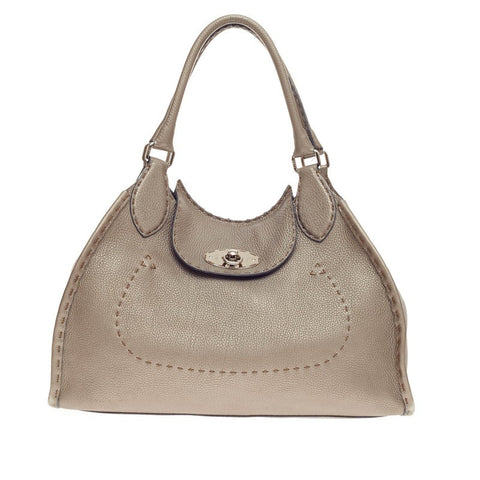 7c820f9cb7 Buy Fendi Selleria Flap Shoulder Bag Grained Leather Gray 194606 – Rebag