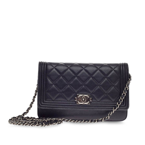 Buy Chanel Boy Wallet on Chain Quilted Lambskin Black 196002 – Rebag b4a96198c624b