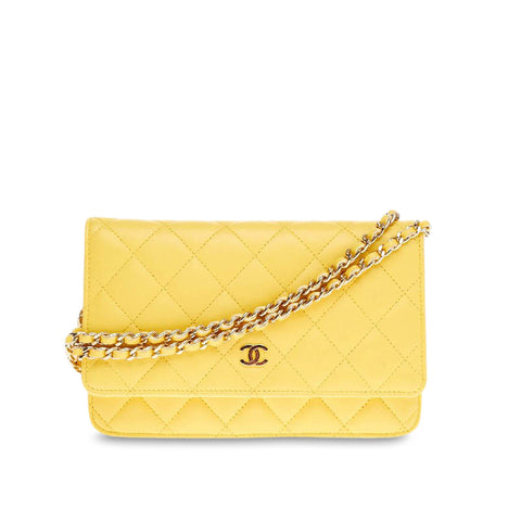 Buy Chanel Wallet on Chain Quilted Lambskin Yellow 198702 – Rebag 7705020fc4d54
