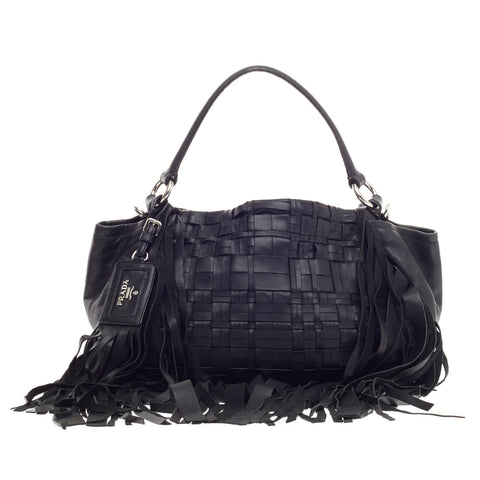 2d3eba45750b Buy Prada Convertible Fringe Shoulder Bag Woven Nappa Leather 201301 – Rebag