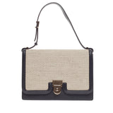 Victoria Beckham Flap Pushlock Shoulder Bag Canvas and Leather