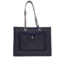 Chanel Shopping Tote Calfskin with Tweed Trim Large